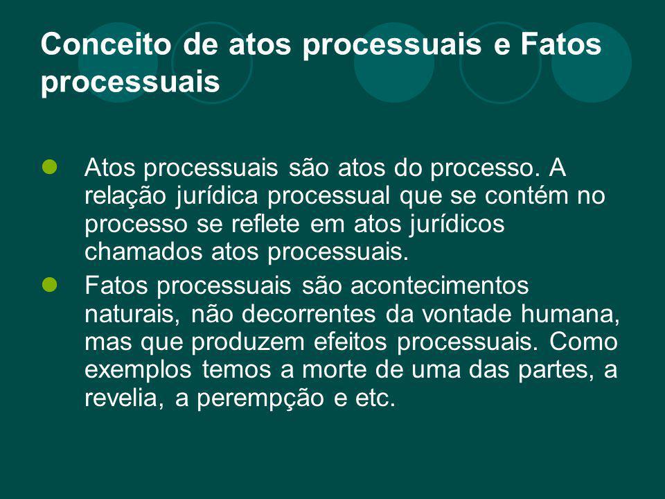 Conceito de atos processuais e Fatos processuais Atos processuais são atos do processo. A relação jurídica processual que se contém no processo se ref