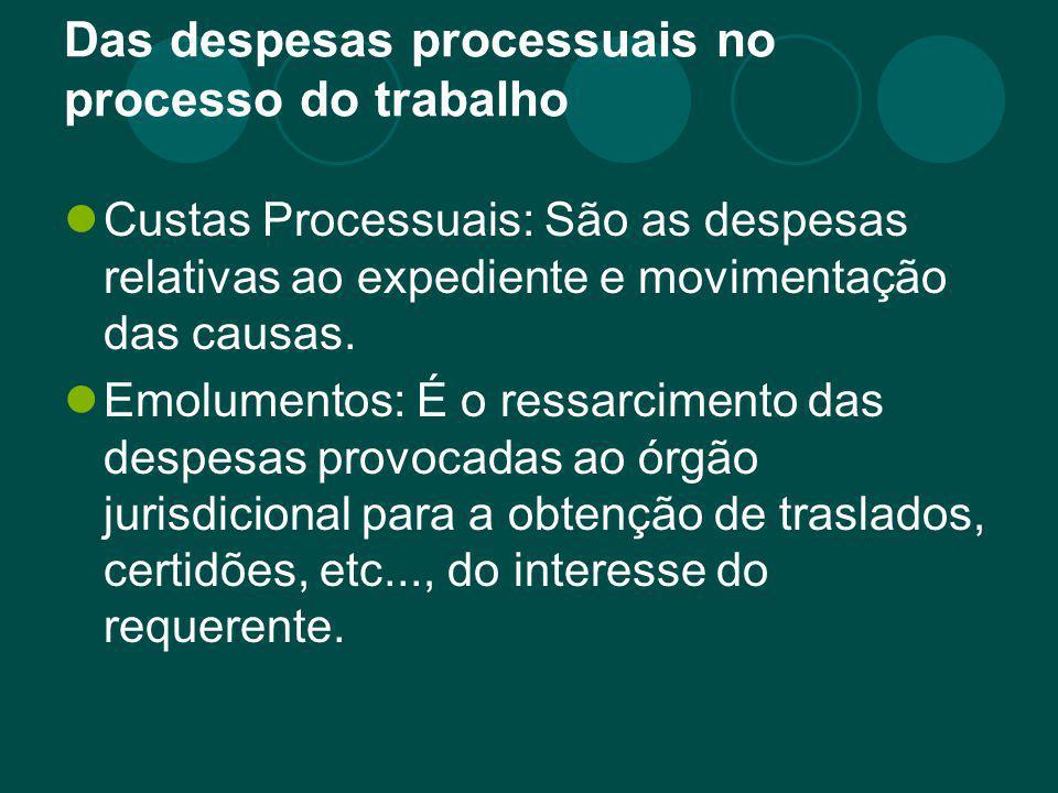 Das despesas processuais no processo do trabalho Custas Processuais: São as despesas relativas ao expediente e movimentação das causas. Emolumentos: É