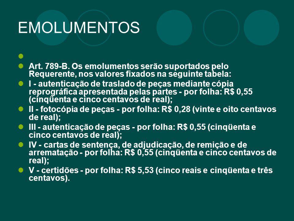 EMOLUMENTOS Art. 789-B. Os emolumentos serão suportados pelo Requerente, nos valores fixados na seguinte tabela: I - autenticação de traslado de peças