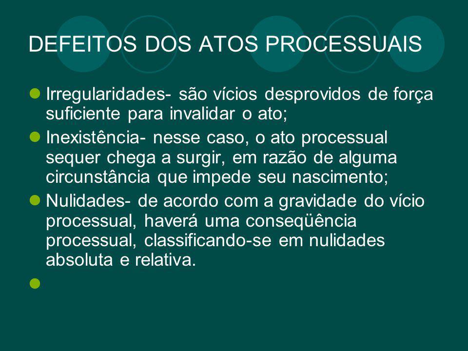 DEFEITOS DOS ATOS PROCESSUAIS Irregularidades- são vícios desprovidos de força suficiente para invalidar o ato; Inexistência- nesse caso, o ato proces