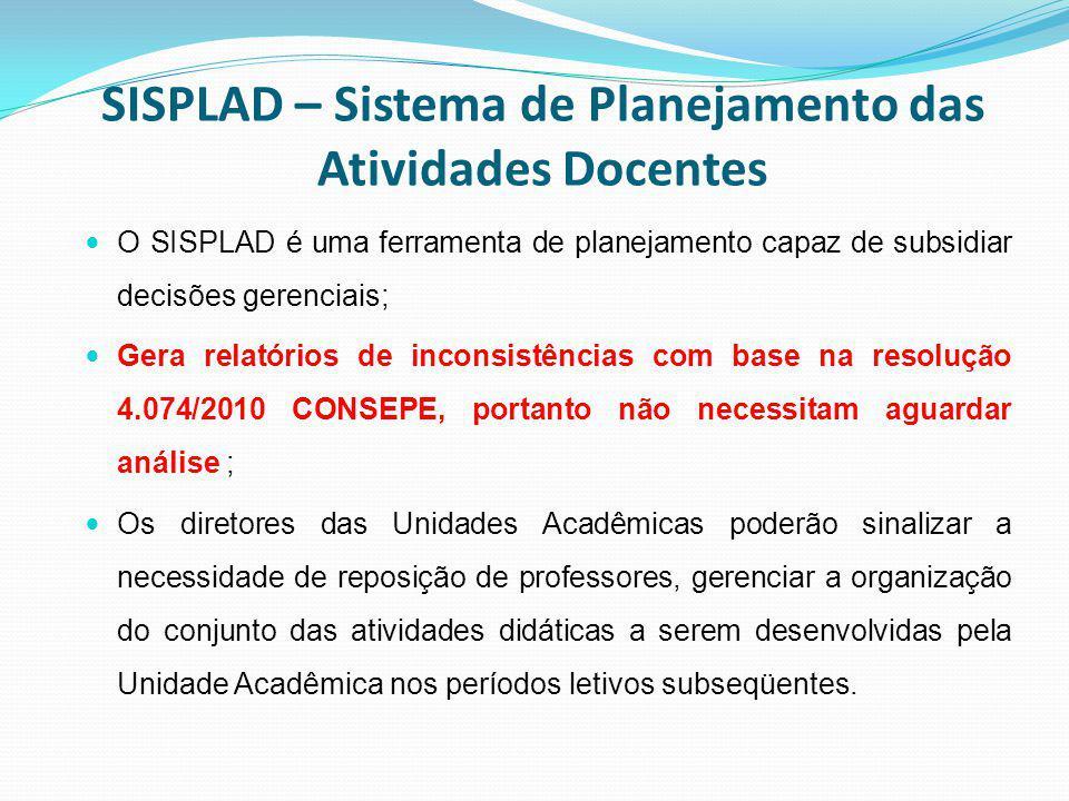 SISPLAD – Sistema de Planejamento das Atividades Docentes O SISPLAD é uma ferramenta de planejamento capaz de subsidiar decisões gerenciais; Gera rela