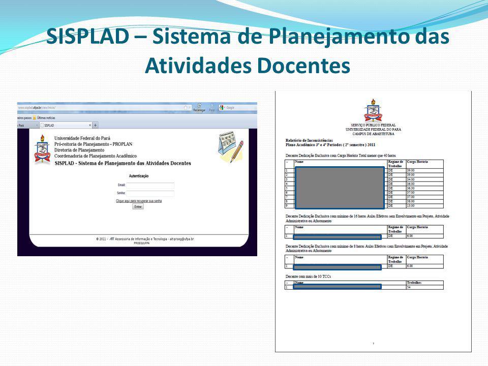 SISPLAD – Sistema de Planejamento das Atividades Docentes