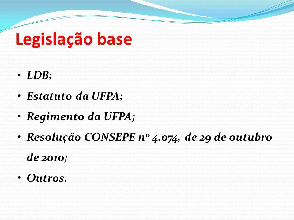 Legislação base LDB; Estatuto da UFPA; Regimento da UFPA; Resolução CONSEPE nº 4.074, de 29 de outubro de 2010; Outros.