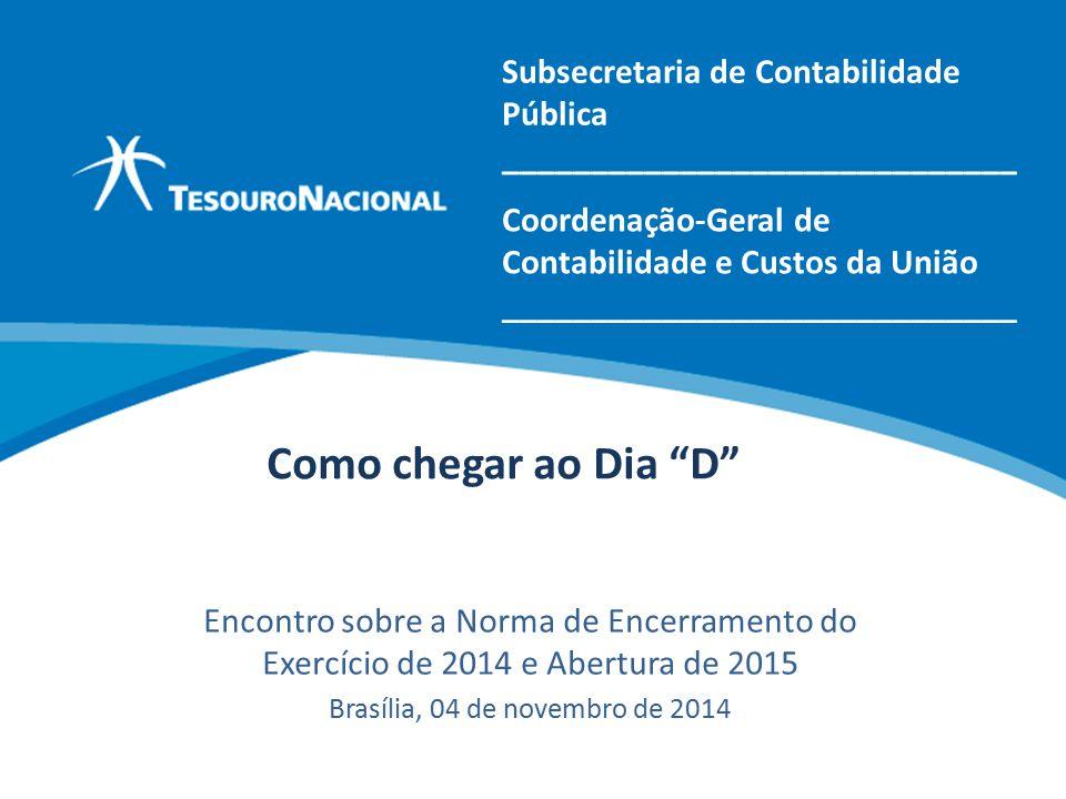 Como chegar ao Dia D Encontro sobre a Norma de Encerramento do Exercício de 2014 e Abertura de 2015 Brasília, 04 de novembro de 2014 Coordenação-Geral de Contabilidade e Custos da União _____________________________ Subsecretaria de Contabilidade Pública _____________________________