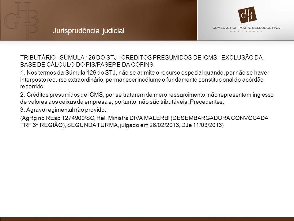 TRIBUTÁRIO - SÚMULA 126 DO STJ - CRÉDITOS PRESUMIDOS DE ICMS - EXCLUSÃO DA BASE DE CÁLCULO DO PIS/PASEP E DA COFINS. 1. Nos termos da Súmula 126 do ST