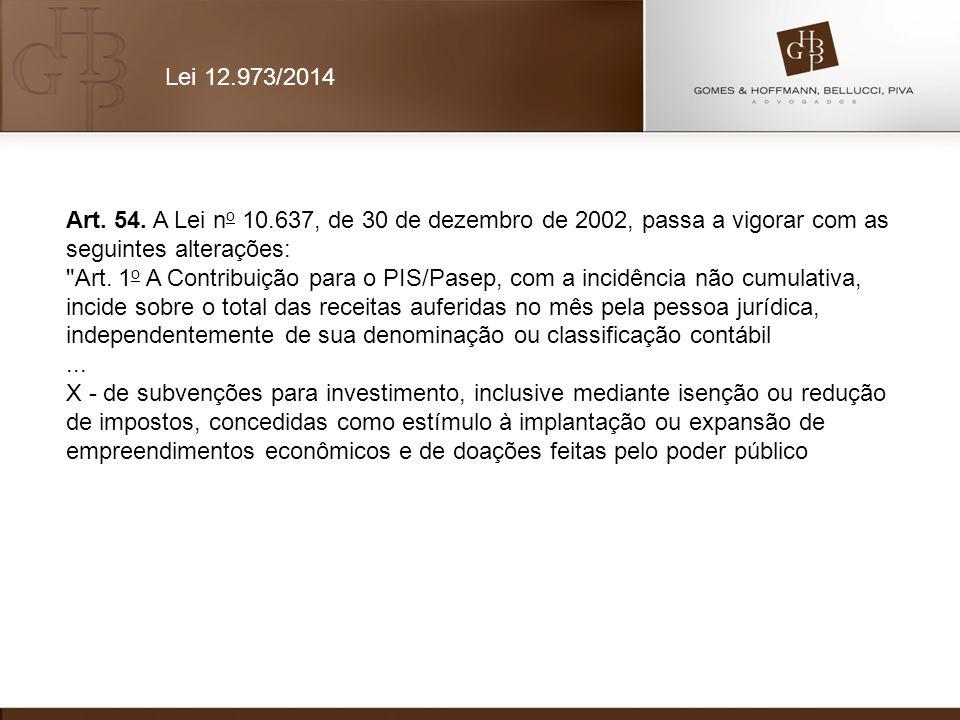 Art. 54. A Lei n o 10.637, de 30 de dezembro de 2002, passa a vigorar com as seguintes alterações: