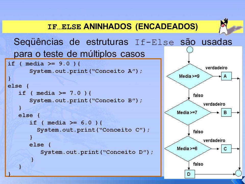 """IF…ELSE ANINHADOS (ENCADEADOS) Seqüências de estruturas If-Else são usadas para o teste de múltiplos casos if ( media >= 9.0 ){ System.out.print(""""Conc"""