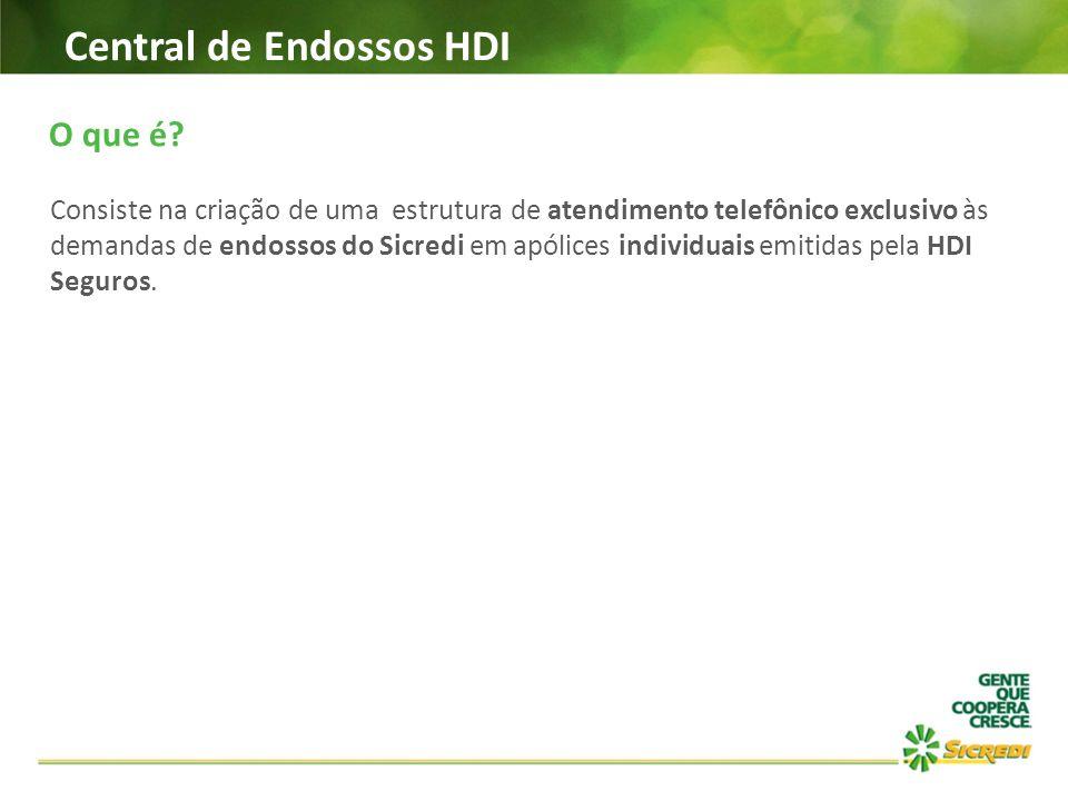 Central de Endossos HDI O que é? Consiste na criação de uma estrutura de atendimento telefônico exclusivo às demandas de endossos do Sicredi em apólic