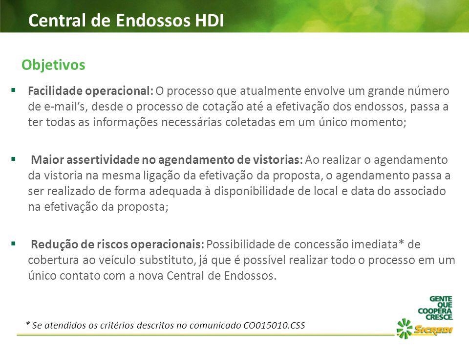 Central de Endossos HDI Objetivos  Facilidade operacional: O processo que atualmente envolve um grande número de e-mail's, desde o processo de cotaçã