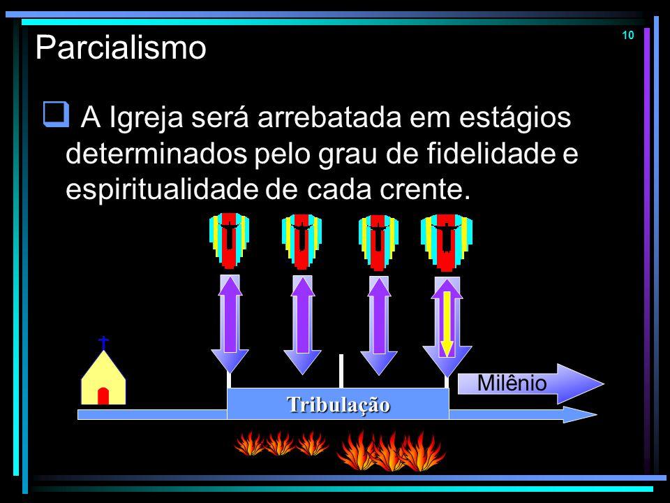 9 Arrebatamento Pré-Ira  Basicamente igual ao meso-tribulacionismo, mas situa a última trombeta um pouco depois da metade da Tribulação. Tribulação M