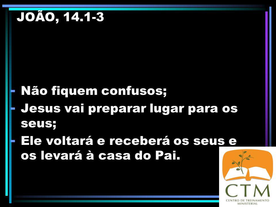 JOÃO 14 1 Não se turbe o vosso coração; credes em Deus, crede também em mim. 2 Na casa de meu pai há muitas moradas. Se assim não fora, eu vo-lo teria