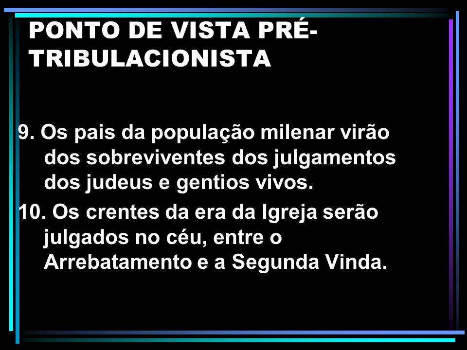 PONTO DE VISTA PRÉ- TRIBULACIONISTA 5. Os 144.000 são redimidos no início da Tribulação. 6. O Arrebatamento e a Segunda Vinda são eventos separados po