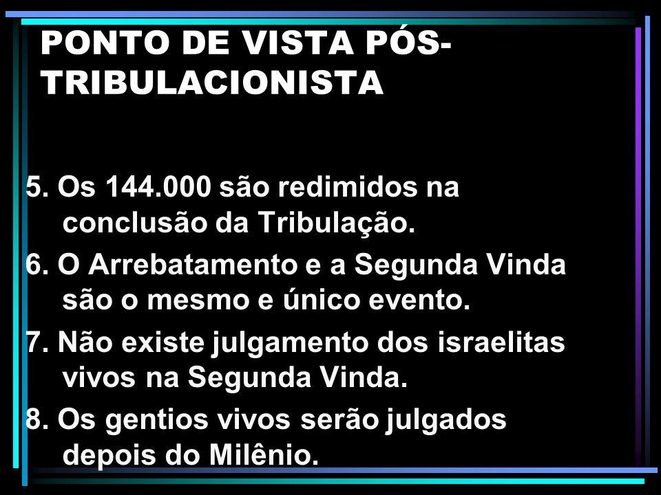 PONTO DE VISTA PÓS- TRIBULACIONISTA 1. O arrebatamento ocorre depois da Tribulação. 2. A Igreja experimenta Apocalipse 3.10 no final da Tribulação. 3.