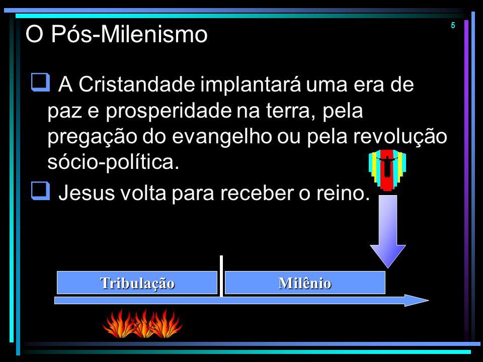 4 O Amilenismo  Não haverá um reino material, geográfico e político sobre a terra.  A volta de Jesus acontecerá depois de um (breve) período de apos