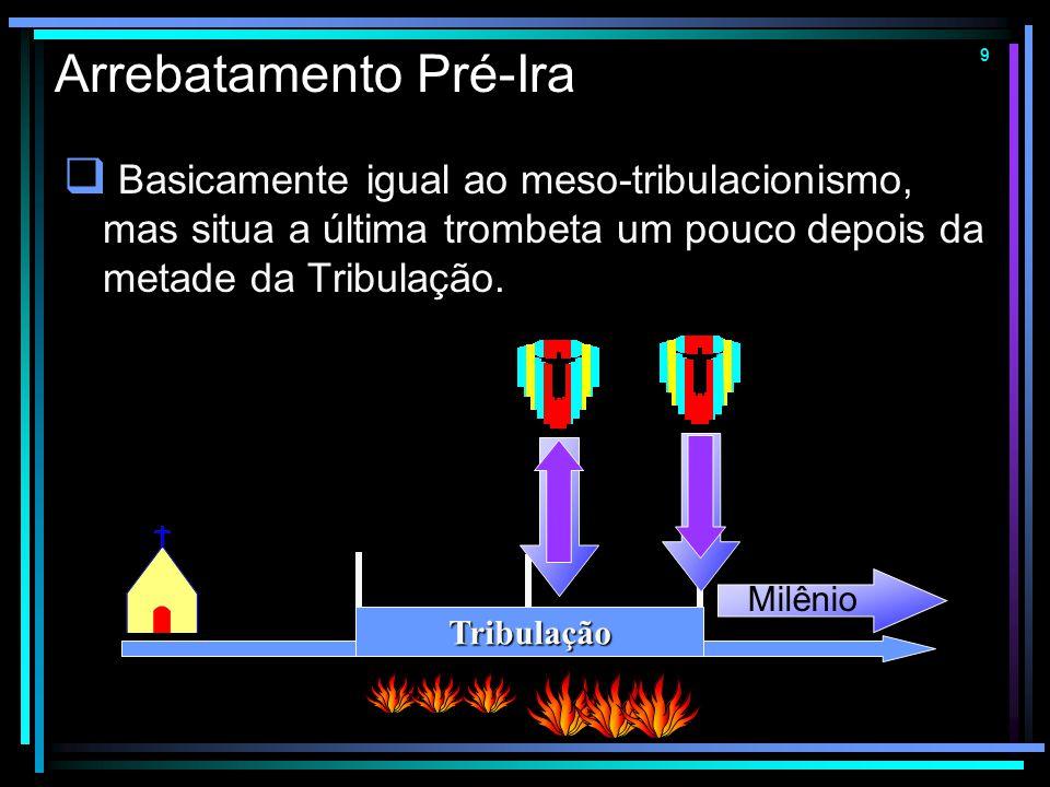 8 Meso-tribulacionismo  O Arrebatamento ocorre na metade da Tribulação. A Igreja escapa da Grande Tribulação. 1 Co 15.52 = Ap 11.15 Tribulação Milêni