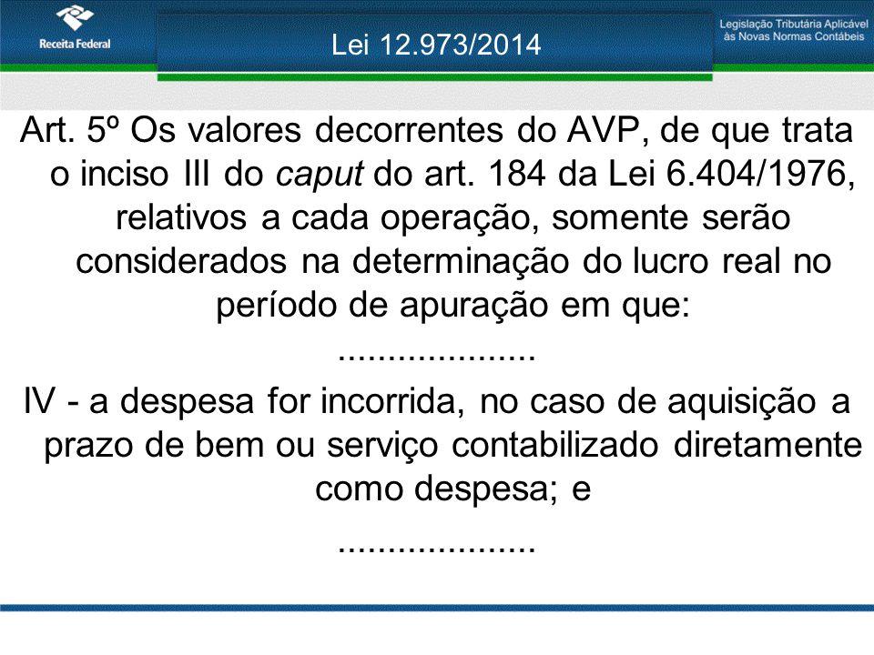 Lei 12.973/2014 Art. 5º Os valores decorrentes do AVP, de que trata o inciso III do caput do art. 184 da Lei 6.404/1976, relativos a cada operação, so
