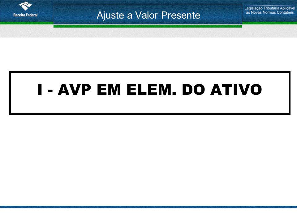 Ajuste a Valor Presente I - AVP EM ELEM. DO ATIVO
