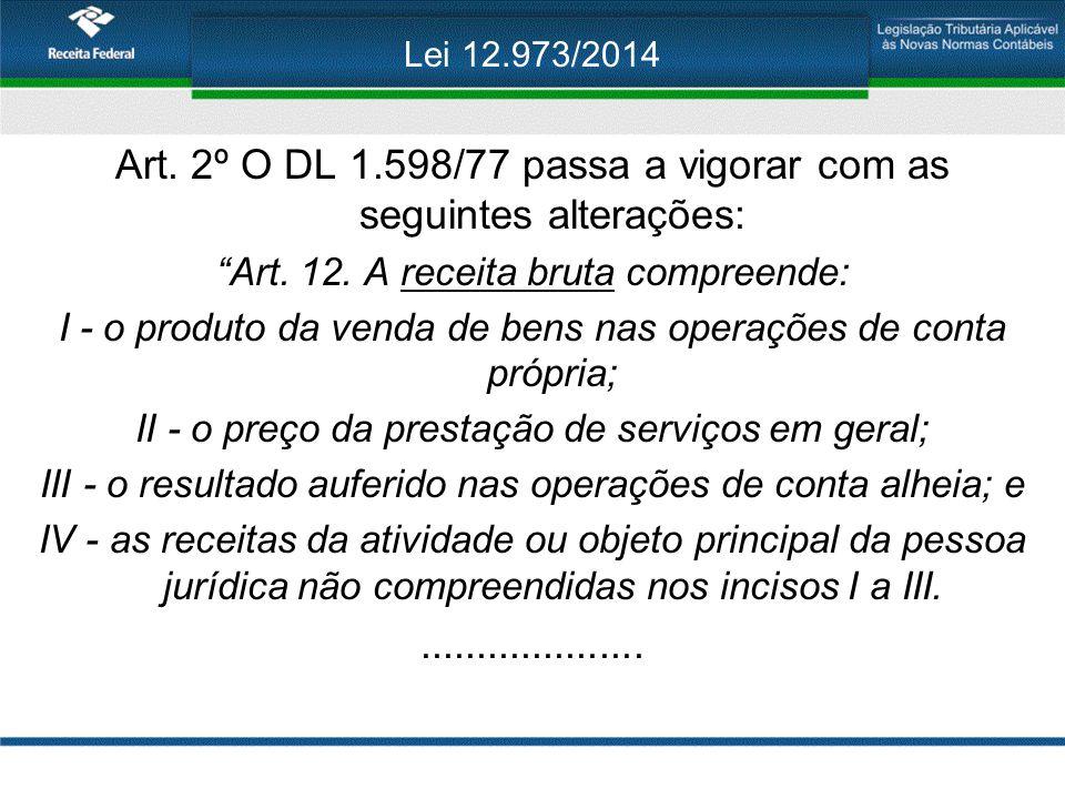 """Lei 12.973/2014 Art. 2º O DL 1.598/77 passa a vigorar com as seguintes alterações: """"Art. 12. A receita bruta compreende: I - o produto da venda de ben"""