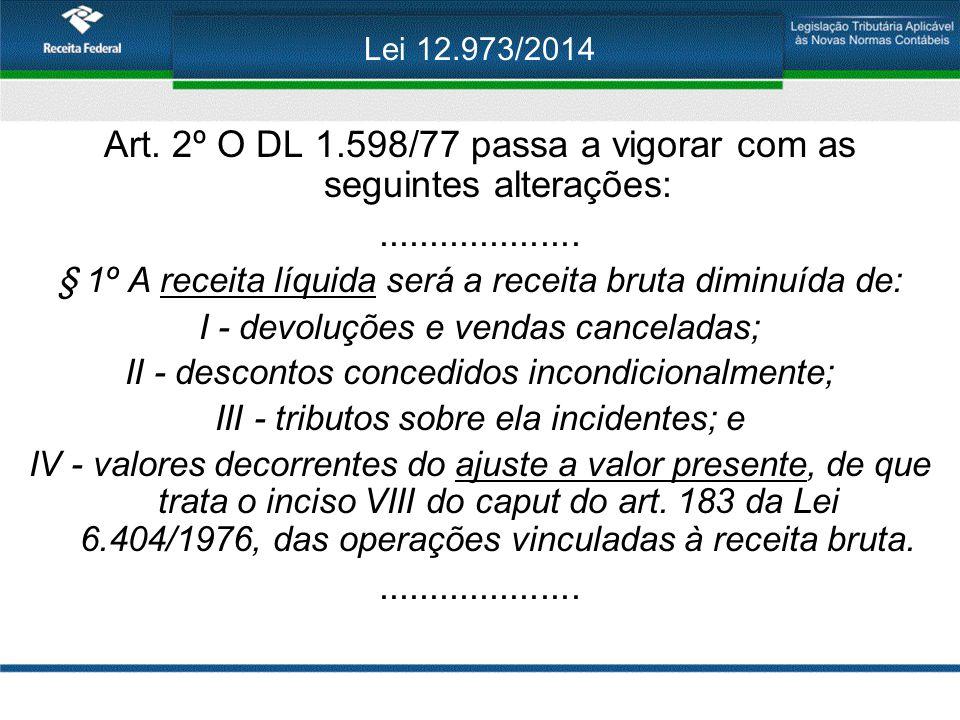 Lei 12.973/2014 Art. 2º O DL 1.598/77 passa a vigorar com as seguintes alterações:.................... § 1º A receita líquida será a receita bruta dim