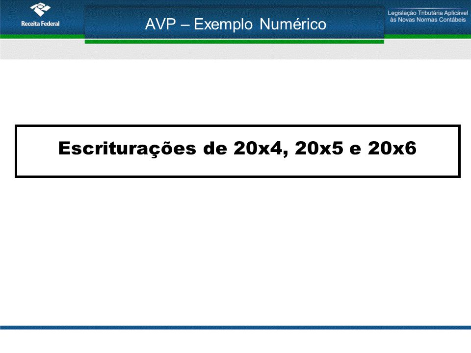 AVP – Exemplo Numérico Escriturações de 20x4, 20x5 e 20x6