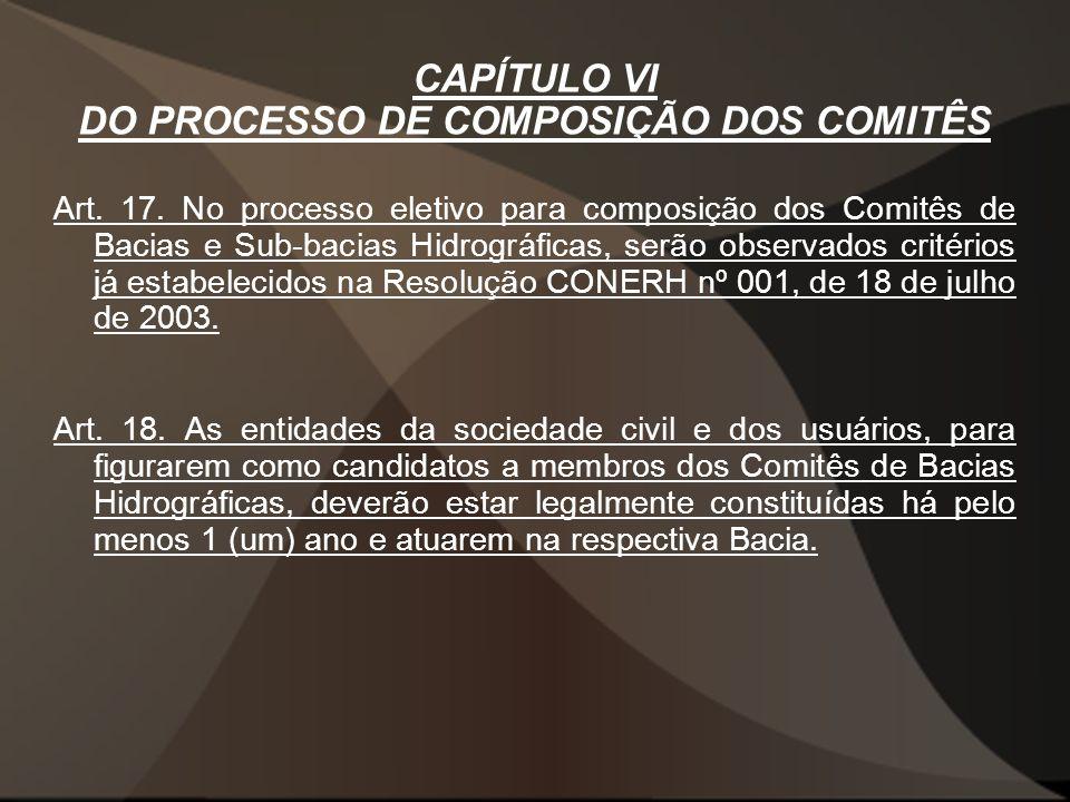 CAPÍTULO VI DO PROCESSO DE COMPOSIÇÃO DOS COMITÊS Art.