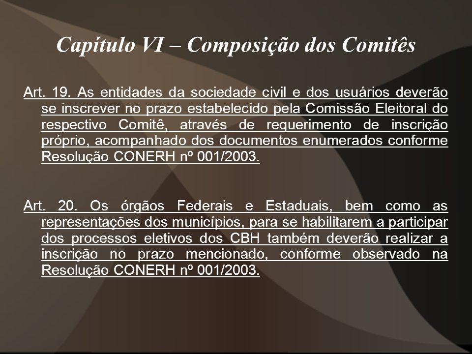 Capítulo VI – Composição dos Comitês Art.19.