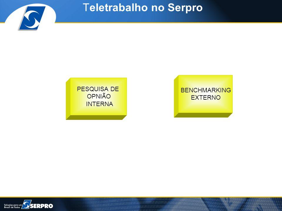 Teletrabalho no Serpro PESQUISA DE OPNIÃO INTERNA BENCHMARKING EXTERNO