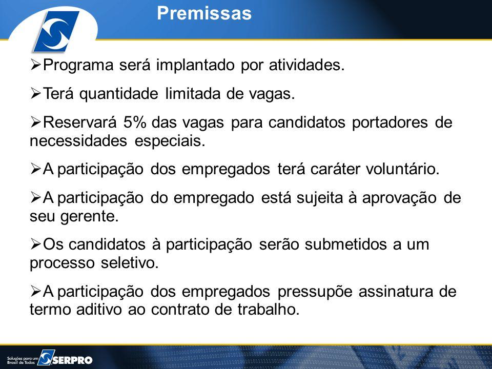 Premissas  Programa será implantado por atividades.  Terá quantidade limitada de vagas.  Reservará 5% das vagas para candidatos portadores de neces
