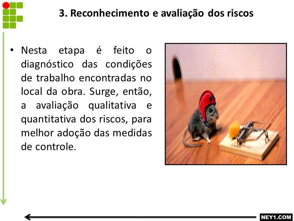 3. Reconhecimento e avaliação dos riscos Nesta etapa é feito o diagnóstico das condições de trabalho encontradas no local da obra. Surge, então, a ava