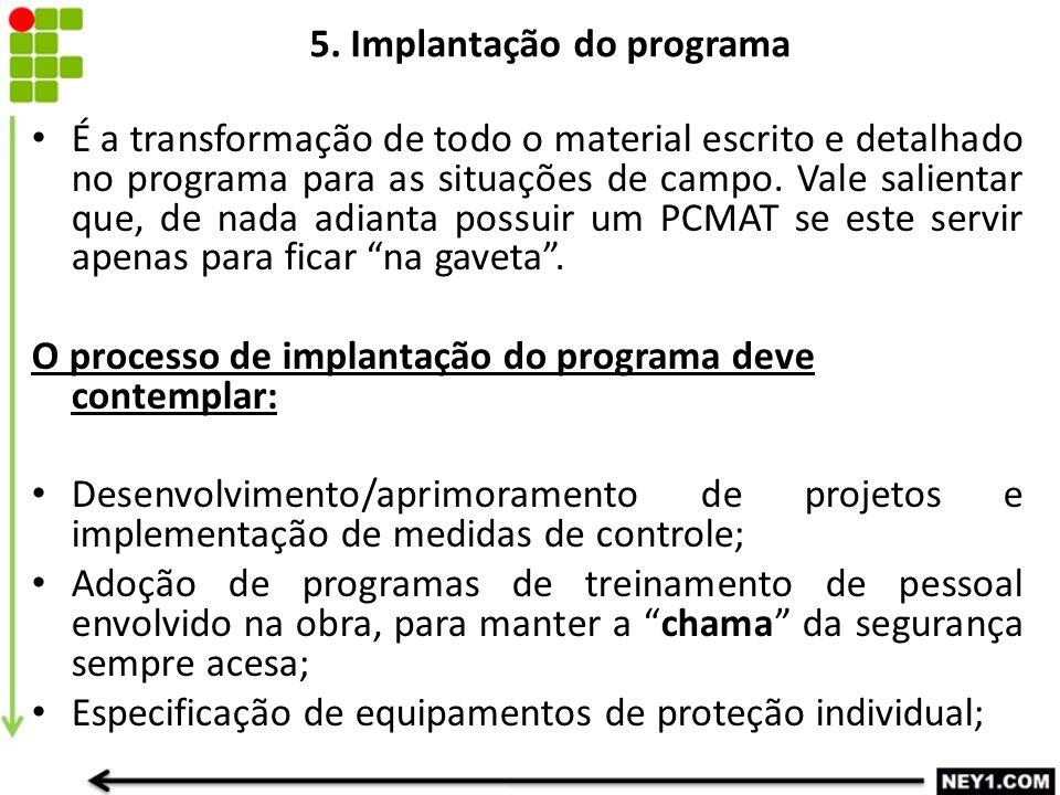 5. Implantação do programa É a transformação de todo o material escrito e detalhado no programa para as situações de campo. Vale salientar que, de nad