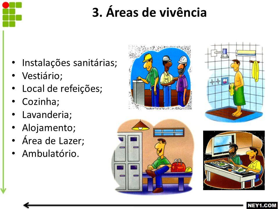 3. Áreas de vivência Instalações sanitárias; Vestiário; Local de refeições; Cozinha; Lavanderia; Alojamento; Área de Lazer; Ambulatório.