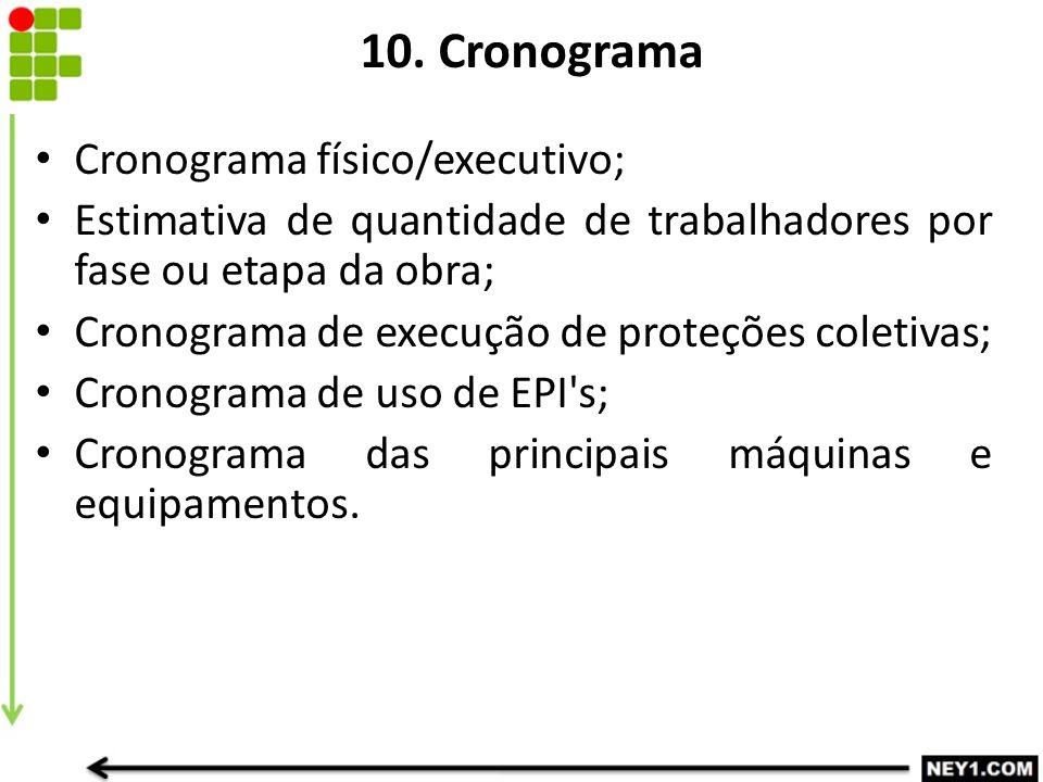 10. Cronograma Cronograma físico/executivo; Estimativa de quantidade de trabalhadores por fase ou etapa da obra; Cronograma de execução de proteções c