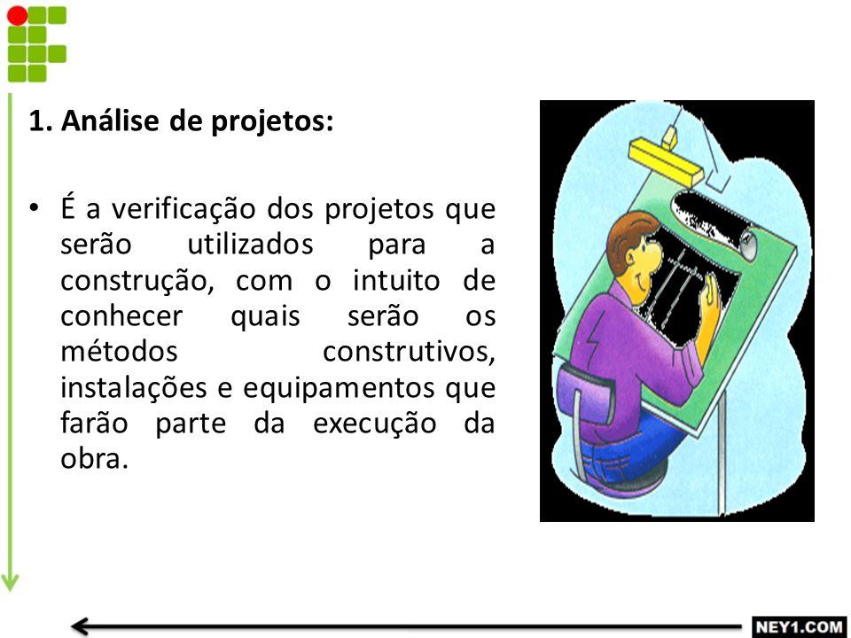 1. Análise de projetos: É a verificação dos projetos que serão utilizados para a construção, com o intuito de conhecer quais serão os métodos construt