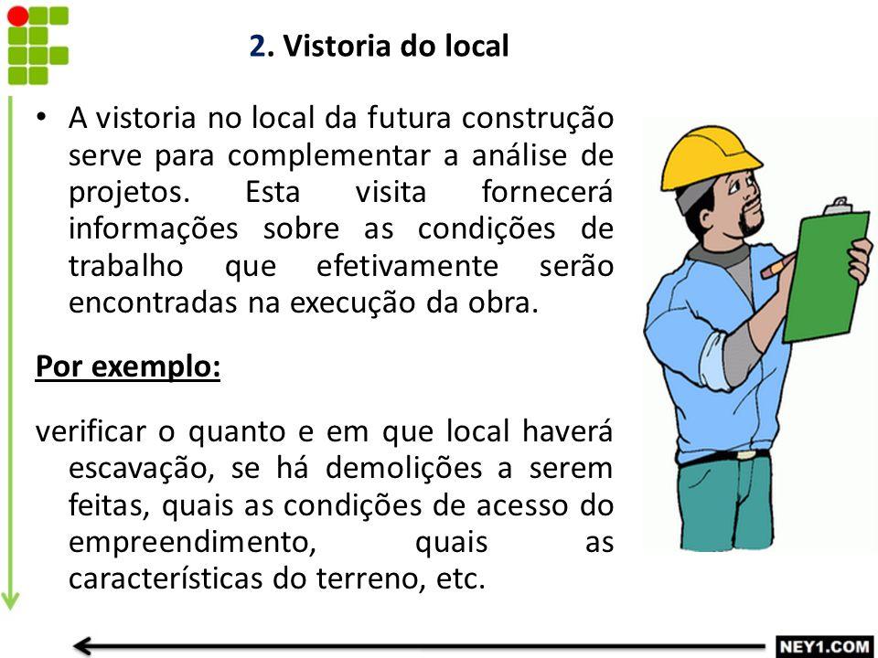 2. Vistoria do local A vistoria no local da futura construção serve para complementar a análise de projetos. Esta visita fornecerá informações sobre a