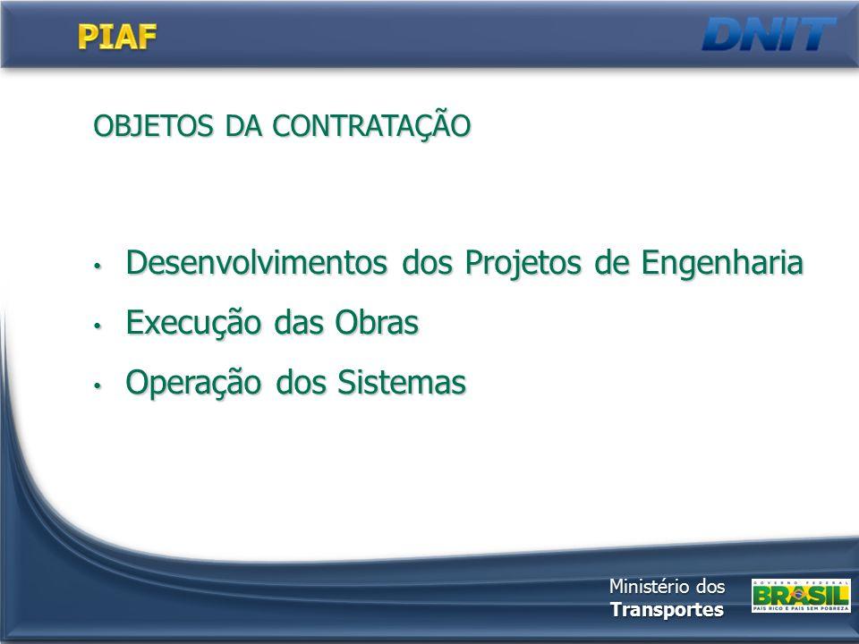 OBJETOS DA CONTRATAÇÃO Desenvolvimentos dos Projetos de Engenharia Desenvolvimentos dos Projetos de Engenharia Execução das Obras Execução das Obras Operação dos Sistemas Operação dos Sistemas Ministério dos Transportes