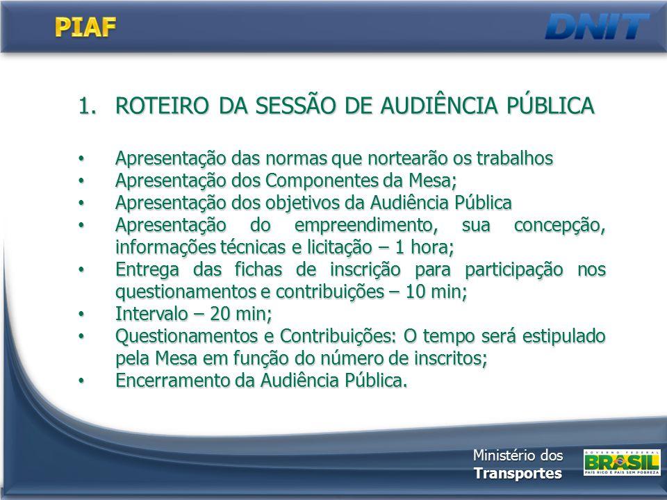 Primeira fase: 21 PIAF Editais serão publicados em Dez/2013 Editais serão publicados em Dez/2013 1º Edital – Processo 50600.079142/2013-31 Ministério dos Transportes Lote Código PIAF/ECP BRKmSentidoMunicípio 1 05.01.101.BA10110+550Divisa SE/BA – Esplanada/BARio Real 05.02.101.BA101222+050 Governador Mangabeira/BA – Sapeaçu/BA Cruz das Almas 05.10.242.BA242289+250Ent BR-407/BA - Ent BA-142 Lajedinho 2 17.05.259.ES2595+110Colatina – João Neiva João Neiva 17.07.262.ES26221+527Marechal Floriano – Viana Viana 17.06.381.ES3816 Nova Venécia – São Mateus/BR- 101/ES São Mateus