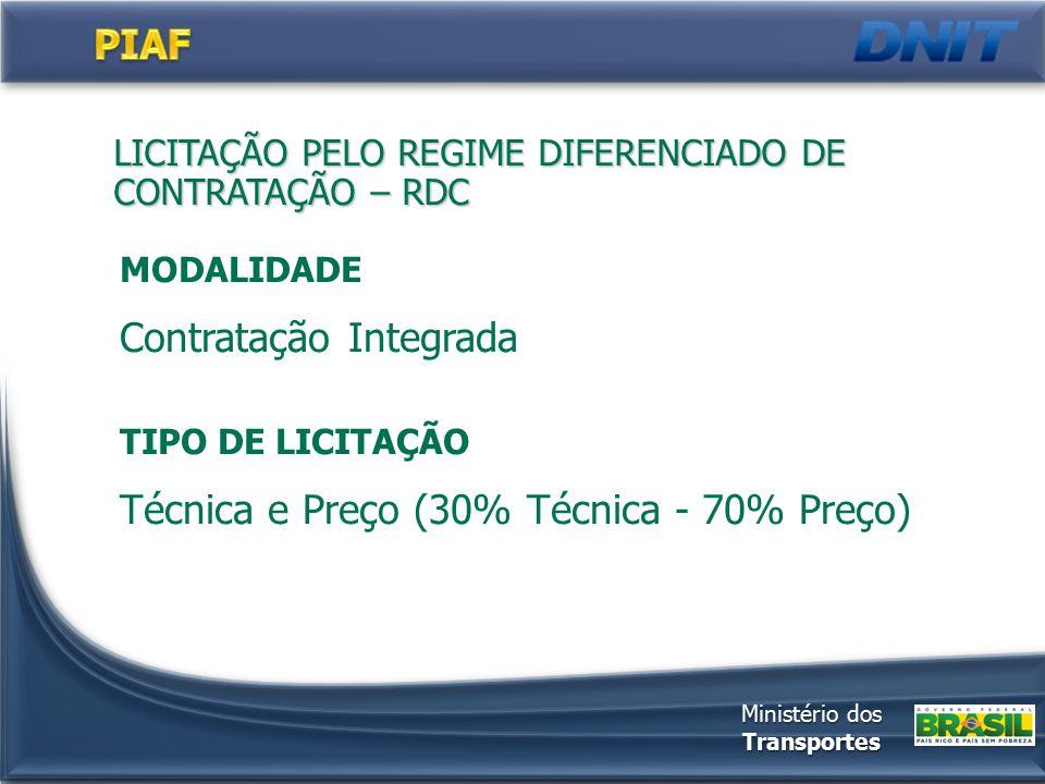 LICITAÇÃO PELO REGIME DIFERENCIADO DE CONTRATAÇÃO – RDC MODALIDADE Contratação Integrada TIPO DE LICITAÇÃO Técnica e Preço (30% Técnica - 70% Preço) Ministério dos Transportes