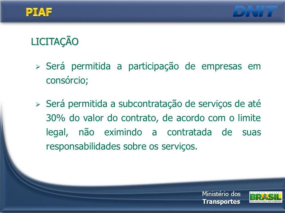 LICITAÇÃO  Será permitida a participação de empresas em consórcio;  Será permitida a subcontratação de serviços de até 30% do valor do contrato, de acordo com o limite legal, não eximindo a contratada de suas responsabilidades sobre os serviços.