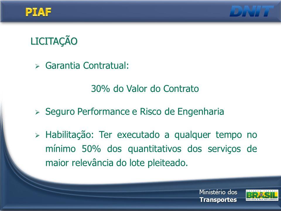LICITAÇÃO  Garantia Contratual: 30% do Valor do Contrato  Seguro Performance e Risco de Engenharia  Habilitação: Ter executado a qualquer tempo no