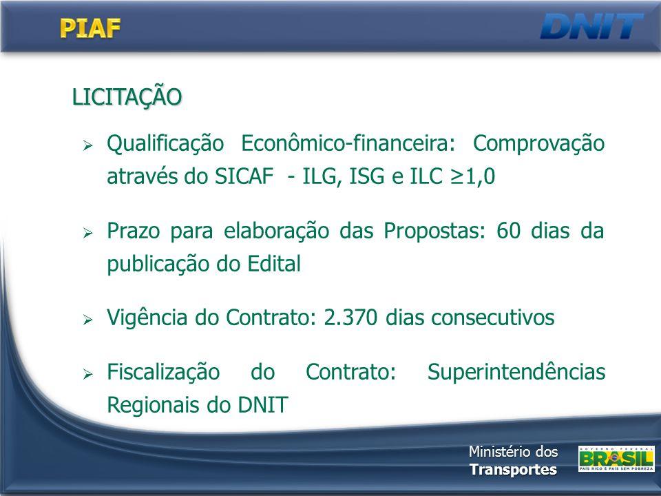LICITAÇÃO  Qualificação Econômico-financeira: Comprovação através do SICAF - ILG, ISG e ILC ≥1,0  Prazo para elaboração das Propostas: 60 dias da pu