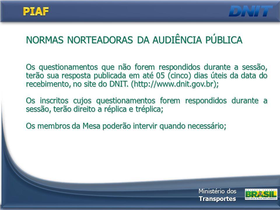 NORMAS NORTEADORAS DA AUDIÊNCIA PÚBLICA Os questionamentos que não forem respondidos durante a sessão, terão sua resposta publicada em até 05 (cinco)