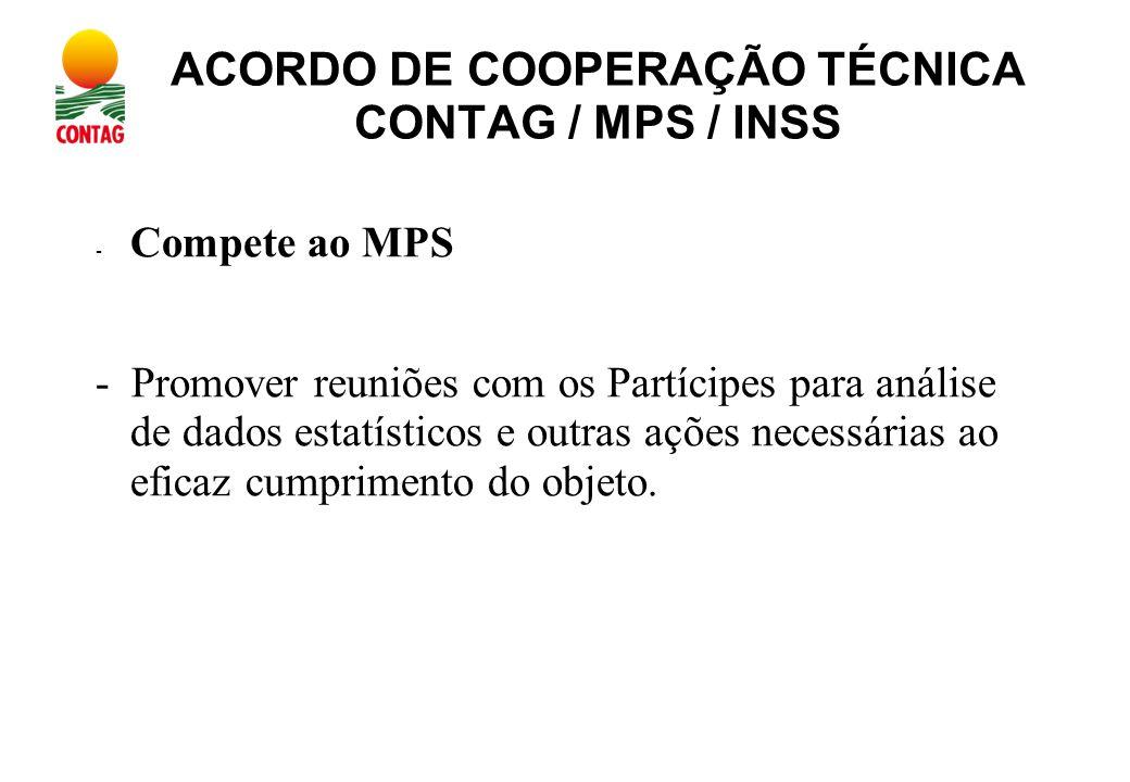 ACORDO DE COOPERAÇÃO TÉCNICA CONTAG / MPS / INSS - Compete ao MPS - Promover reuniões com os Partícipes para análise de dados estatísticos e outras ações necessárias ao eficaz cumprimento do objeto.