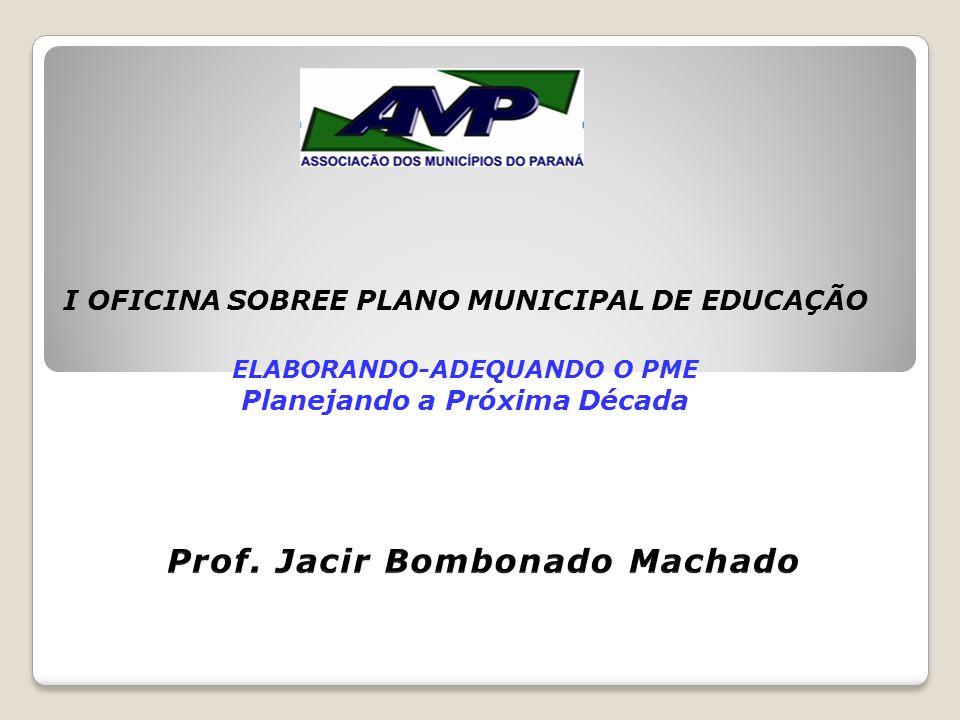 I OFICINA SOBREE PLANO MUNICIPAL DE EDUCAÇÃO ELABORANDO-ADEQUANDO O PME Planejando a Próxima Década