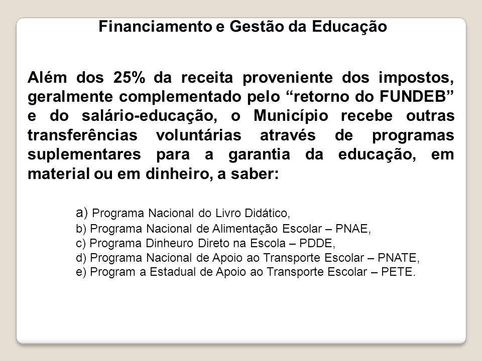 """Financiamento e Gestão da Educação Além dos 25% da receita proveniente dos impostos, geralmente complementado pelo """"retorno do FUNDEB"""" e do salário-ed"""