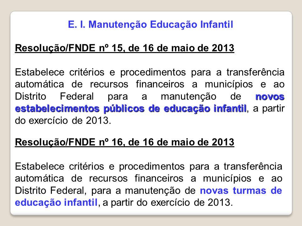 E. I. Manutenção Educação Infantil Resolução/FNDE nº 15, de 16 de maio de 2013 novos estabelecimentos públicos de educação infantil Estabelece critéri
