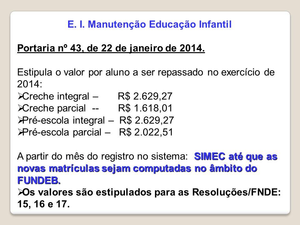 E. I. Manutenção Educação Infantil Portaria nº 43, de 22 de janeiro de 2014. Estipula o valor por aluno a ser repassado no exercício de 2014:  Creche