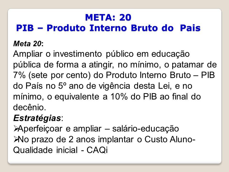 META: 20 PIB – Produto Interno Bruto do Pais Meta 20: Ampliar o investimento público em educação pública de forma a atingir, no mínimo, o patamar de 7