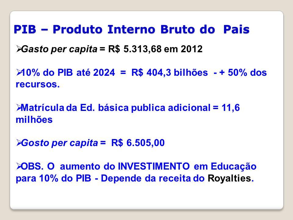 PIB – Produto Interno Bruto do Pais  Gasto per capita = R$ 5.313,68 em 2012  10% do PIB até 2024 = R$ 404,3 bilhões - + 50% dos recursos.  Matrícul