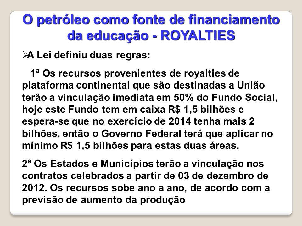  A Lei definiu duas regras: 1ª Os recursos provenientes de royalties de plataforma continental que são destinadas a União terão a vinculação imediata