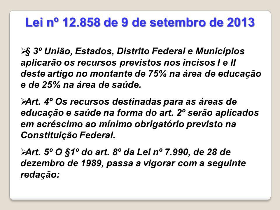  § 3º União, Estados, Distrito Federal e Municípios aplicarão os recursos previstos nos incisos I e II deste artigo no montante de 75% na área de educação e de 25% na área de saúde.